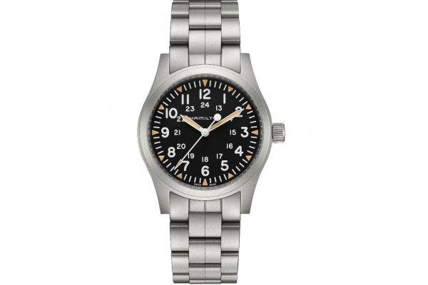 Large image of Hamilton Khaki Field Mechanical Black Dial Watch, 42mm - H69529133