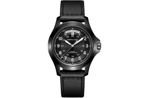 Large image of Hamilton Khaki King Day Date Auto Watch, Black Dial, 40mm - H64465733