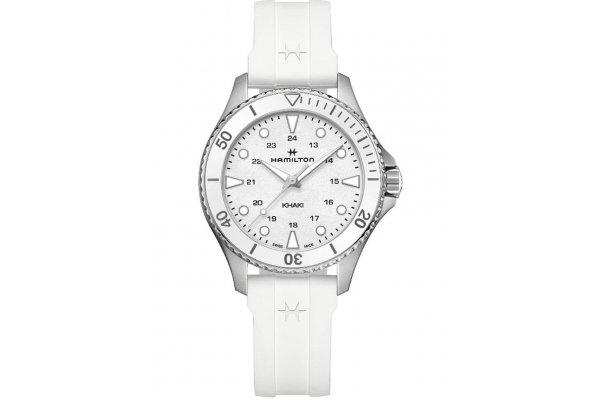 Large image of Hamilton Khaki Navy Scuba Quartz White Dial Watch, 37mm - H82221310