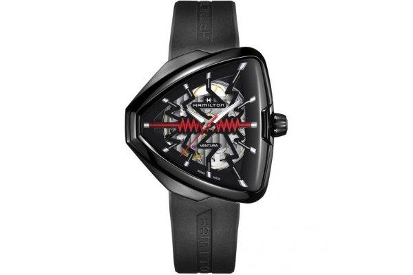 Large image of Hamilton Ventura Elvis80 Skeleton Auto Black Rubber Strap Watch - H24535331
