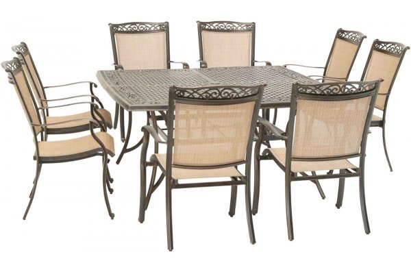 """Large image of Hanover Fontana 9-Piece Outdoor Dining Set In Tan/Bronze With 8 Sling Dining Chairs & 60"""" Square Cast Table - FNTDN9PCSQC"""