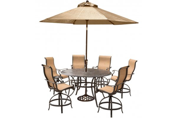 """Large image of Hanover Manor 7-Piece Outdoor Dining Set In Tan Sling/Cast With 6 Sling Cntr Height Swivel Chairs, 56"""" Round Cast Table, Umbrella, Base - MANDN7PCBRSU"""
