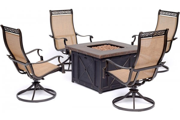 Large image of Hanover Monaco 5-Piece Outdoor Dining Set In Tan/Bronze With 4 Sling Swivel Rockers & Durastone Fire Pit - MON5PCSW4DFP