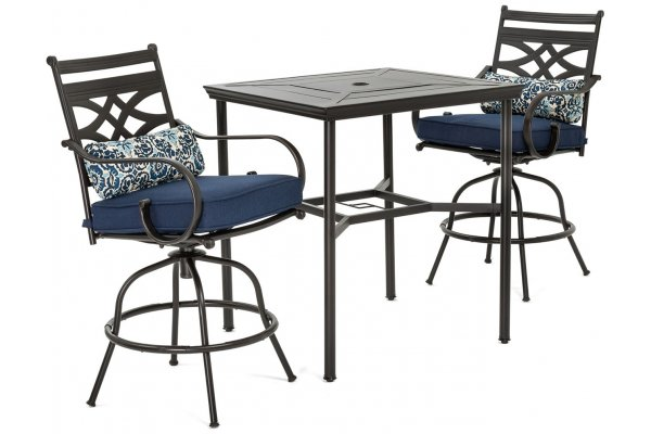 Large image of Hanover Montclair 3-Piece Outdoor Dining Set In Navy/Brown With 2 Swivel Chairs, 33x33 Steel-Stamped Table - MCLRDN3PCBRSW2NVY