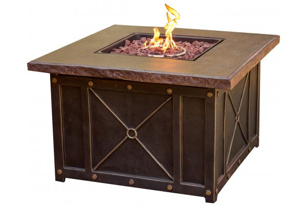 """Large image of Hanover Summer Nights 40"""" Gas Fire Pit With Durastone Top And Lava Rocks - SUMMRNGHT1PCFP"""