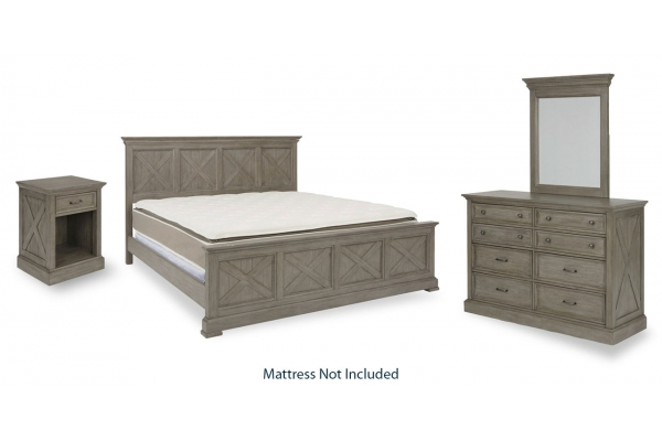 Large image of HomeStyles Mountain Lodge Gray King Bed, Nightstand & Dresser With Mirror - 5525-6022