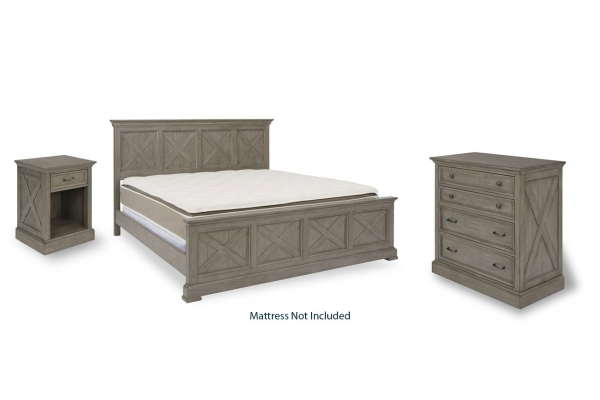Large image of HomeStyles Mountain Lodge Gray King Bed, Nightstand & Chest - 5525-6021