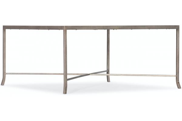 Large image of Hooker Furniture Living Room Alfresco Lapilli Carved Top Cocktail Table - 6025-80110-15