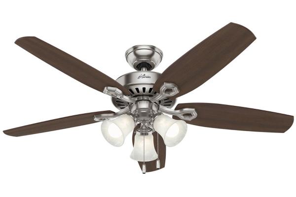 Large image of Hunter Builder Plus Series Brushed Nickel Ceiling Fan - 53237