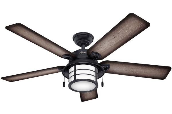 "Large image of Hunter 54"" Key Biscayne Weathered Zinc Outdoor Fan - 59135"