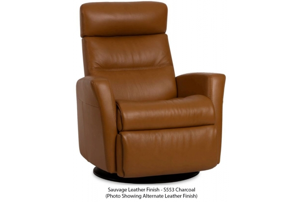 Large image of IMG Divani Sauvage Charcoal Leather Large Manual Recliner With Chaise - RG325-S553-QS