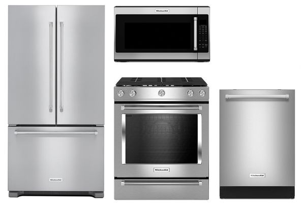 KitchenAid Stainless Steel Counter Depth French Door Refrigerator with Gas Range Package - KITCPACK1