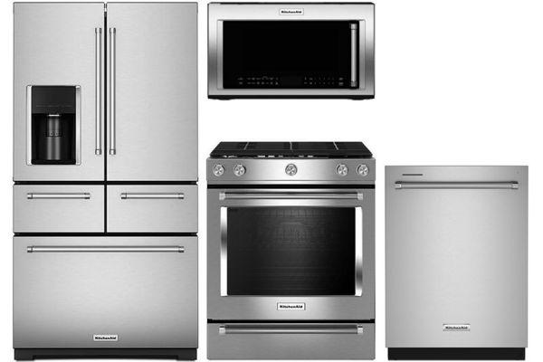 Large image of KitchenAid Multi-Door Refrigerator with Slide-In Gas Range Package - KITCPACK9