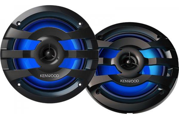 """Large image of Kenwood 6.5"""" Black 2-Way Marine Speakers With Illumination - KFC-1653MRBL"""