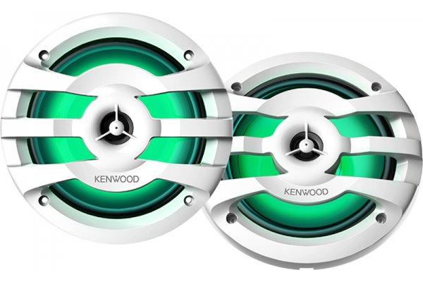 """Large image of Kenwood 6.5"""" White 2-Way Marine Speakers With Illumination - KFC-1653MRWL"""