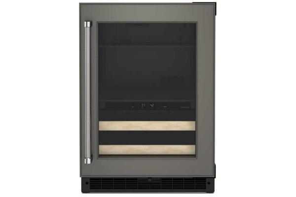 """Large image of KitchenAid 24"""" Panel-Ready Frame Right-Hinge Beverage Center With Wood-Front Racks - KUBR214KPA"""