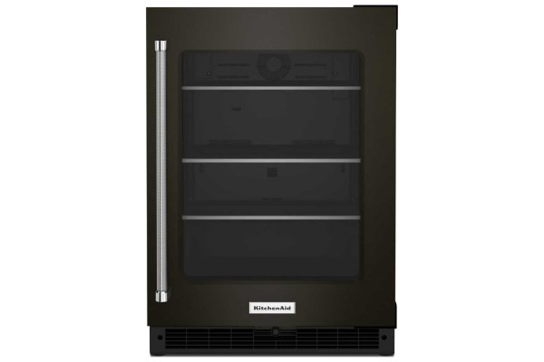 """Large image of KitchenAid 24"""" PrintShield Black Stainless Frame Right-Hinge Undercounter Refrigerator With Shelves With Metallic Accents - KURR314KBS"""