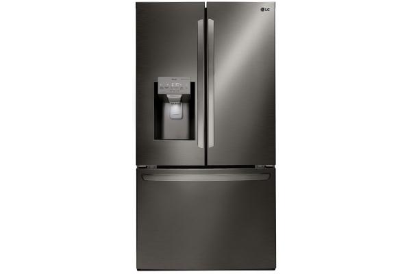 Large image of LG 26.2 Cu. Ft. PrintProof Black Stainless Steel Smart Wi-Fi Enabled French Door Refrigerator - LFXS26973D