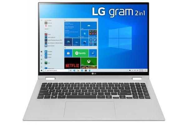 "Large image of LG Gram 16"" 2-In-1 Silver Ultra-Lightweight And Slim Laptop Intel Evo i7-1165G7 16GB RAM 2TB SSD, Intel Iris Xe Graphics - 16T90P-K.ADS9U1"