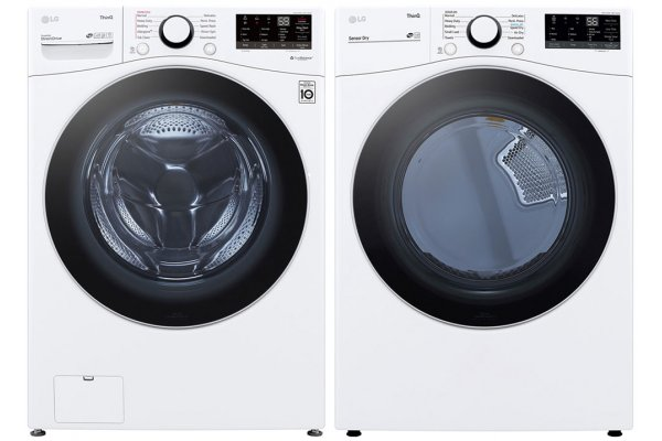 Large image of LG White Front Load Steam Washer with Electric Dryer Package - LGAPLAUNDRYPACK6