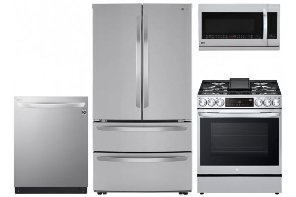 Large image of LG 23 Cu. Ft. Stainless Steel French Door Counter-Depth Refrigerator With Gas Slide-In Range Package - LGAPPACK10