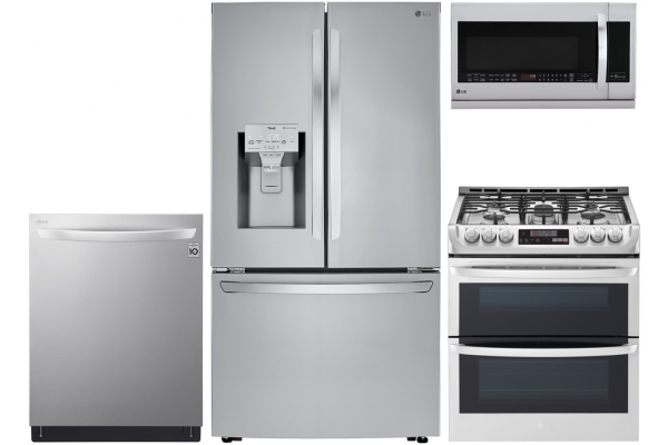 Large image of LG 24 Cu. Ft. French Door Refrigerator With Double Oven Gas Range Package - LGAPPACK10