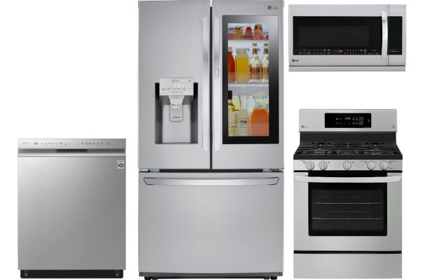 LG PrintProof Stainless Steel InstaView Door-In-Door Counter-Depth French Door Refrigerator With Gas Range Kitchen Package - LGAPPACK15