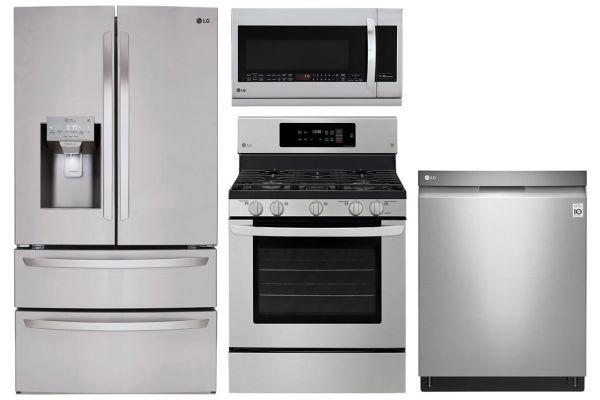 LG 28 Cu. Ft. Stainless Steel 4-Door French Door Refrigerator With Gas Range Package - LGAPPACK17