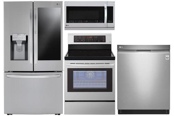 LG 24 Cu. Ft. PrintProof Stainless Steel Counter-Depth Refrigerator With Electric Range Package - LGAPPACK19