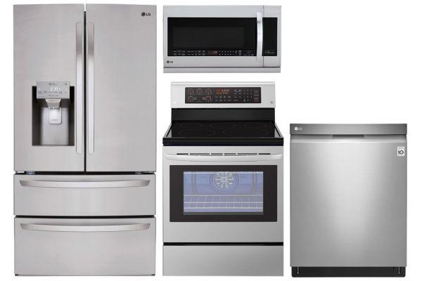 LG 28 Cu. Ft. Stainless Steel 4-Door French Door Refrigerator With Electric Range Package - LGAPPACK20