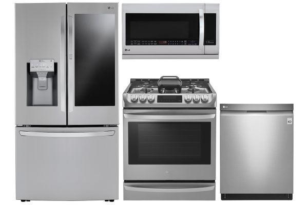 LG 30 Cu. Ft. PrintProof Stainless Steel Smart Wi-Fi French Door Refrigerator With Slide-In Gas Range Package - LGAPPACK26