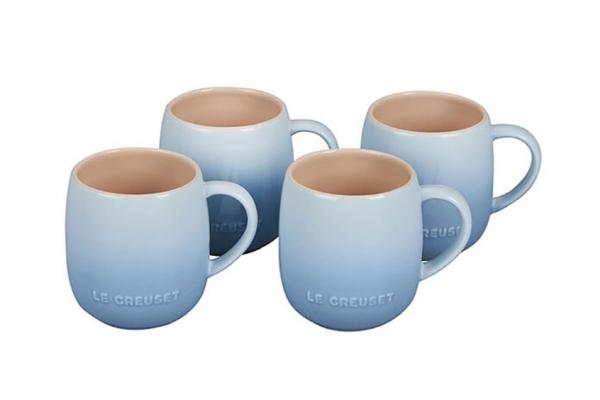 Large image of Le Creuset 13 Oz. Set Of 4 Coastal Blue Heritage Stoneware Mugs - PG70433A-1342