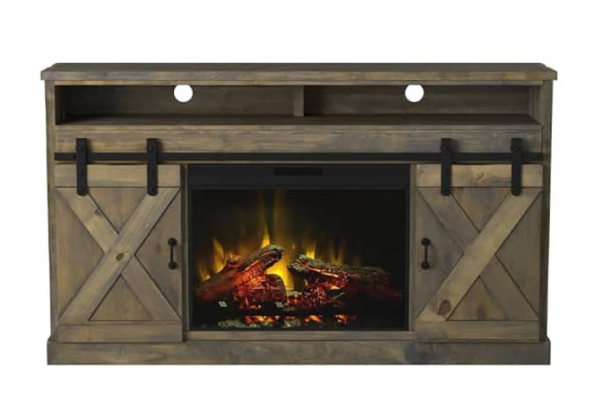 """Large image of Legends Furniture Farmhouse 66"""" Barnwood Fireplace Console - FH5120-BNW"""