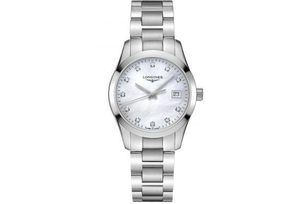 Large image of Longines Conquest Classic Stainless Steel Case And White MOP Dial Womens Watch - L23864876