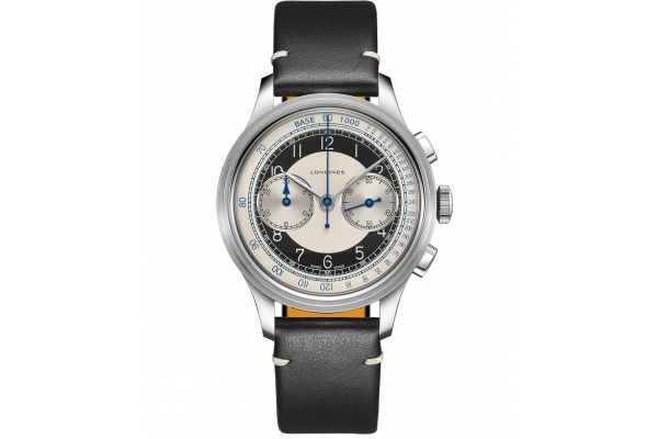 Large image of Longines Heritage Classic Chronograph Black Leather Watch, Silver Dial, 40mm - L28304930
