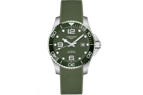 Large image of Longines HydroConquest Automatic Green Matt Dial Watch, 43mm - L37824069