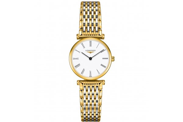 Large image of Longines La Grande Classique de Longines White Dial, Stainless Steel & Yellow PVD Watch, 24mm - L42092117