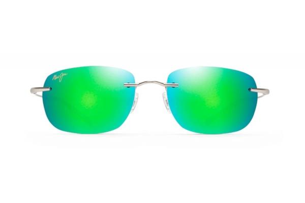 Large image of Maui Jim Nanea Oval Rimless Polarized Green Mirror Unisex Sunglasses - GM33217M