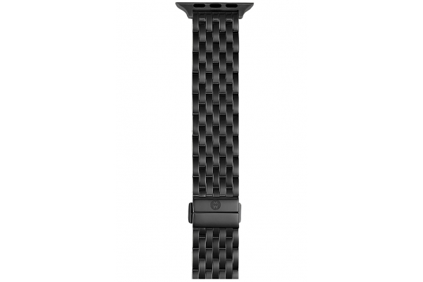 Large image of Michele 38/40mm & 42/44mm Black IP-Plated Apple Watch Bracelet Band - MS20GL479001