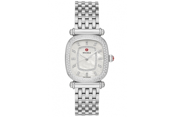 Large image of Michele Caber Isle Quartz Stainless Diamond Watch, MOP Dial, 32mm - MWW16C000032