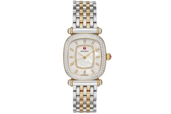 Large image of Michele Caber Isle Quartz Two-Tone 18k Gold Diamond Watch, MOP Dial, 32mm - MWW16C000033