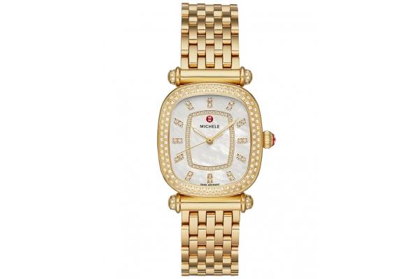 Large image of Michele Caber Isle Quartz 18k Gold Diamond Watch, MOP Dial, 32mm - MWW16C000034