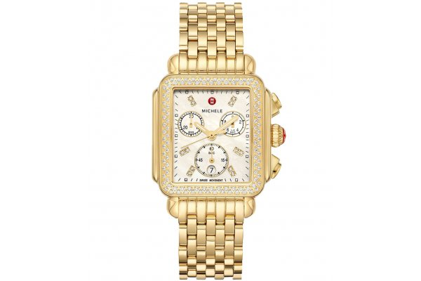 Large image of Michele Deco 18K Gold Diamond Watch, MOP Dial, 33mm - MWW06A000777