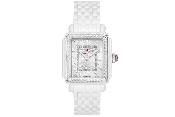 Large image of Michele Deco Madison Quartz White Ceramic Diamond Watch, White Silver Sunray Dial, 33mm - MWW06T000213