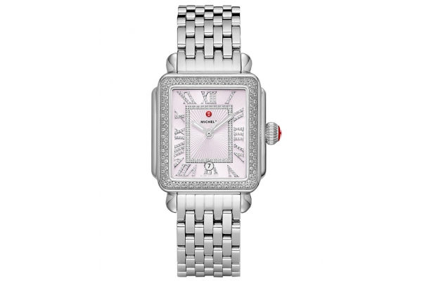 Large image of Michele Deco Madison Stainless Diamond Watch, Lilac Sunray Dial, 33mm - MWW06T000212