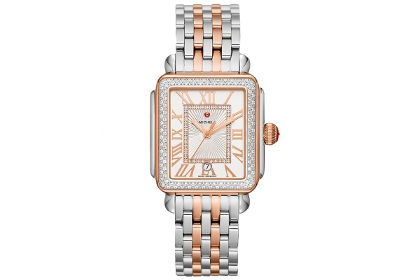 Large image of Michele Deco Madison Two-Tone 18K Pink Gold Diamond Watch, White Silver Sunray Dial, 33mm - MWW06T000220