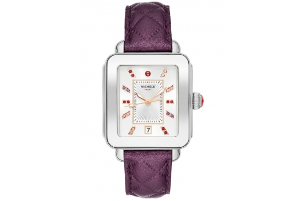 Large image of Michele Deco Sport Violet Quilted Leather Watch, Sunray Dial, 33mm - MWW06K000049