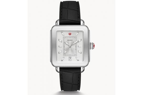 Large image of Michele Deco Sport Quartz Black Silicone Watch, White Dial, 34mm - MWW06K000044