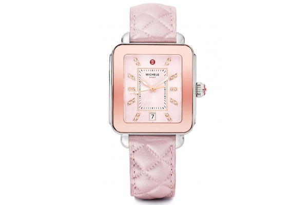 Large image of Michele Deco Sport Lilac Quilted Leather Watch, Sunray Dial, 33mm - MWW06K000046