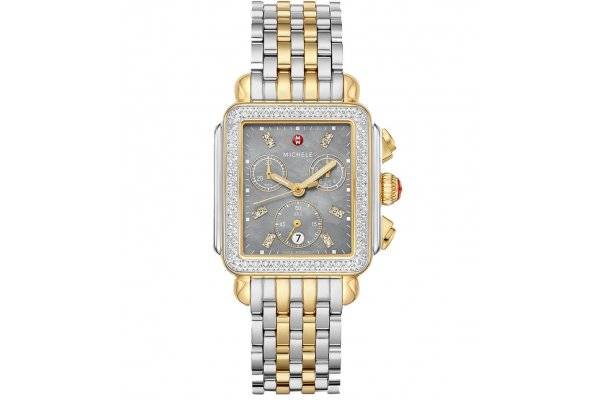 Large image of Michele Deco Chronograph Two-Tone Diamond Stainless Steel Watch, Slate MOP Dial, 33mm - MWW06A000785